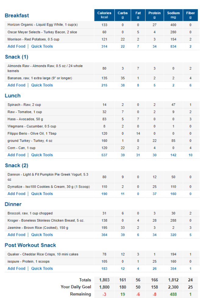 full day of eating macros